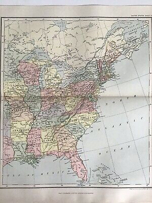 Old Antique Map 1891, Bartholomew, Johnston, United States, North America, East