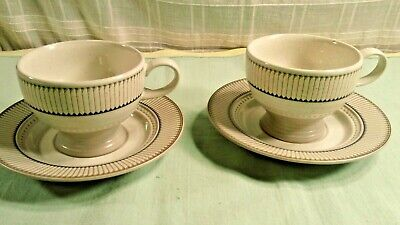 Set of 2 Mikasa Libretto Stone Craft Footed Coffee Cup and Saucer