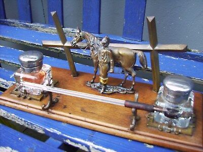 A Victorian Cold Painted Horse & Jockey Desk Stand 2 Inkwells & Pen