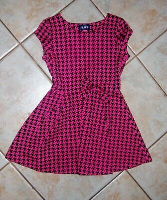 The Childrens Place Girls 7 8 Hot Pink Black Houndstooth Bow DRESS EUC SCHOOL!