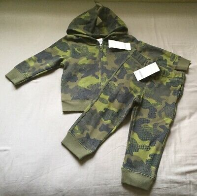 Toddler Boy 12-18 Month Gymboree Green Camouflage Zip Up Hoodie & Jogger Pants