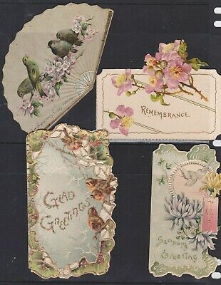 4 Victorian die cut embossed Greeting cards 3 with birds circa 1895