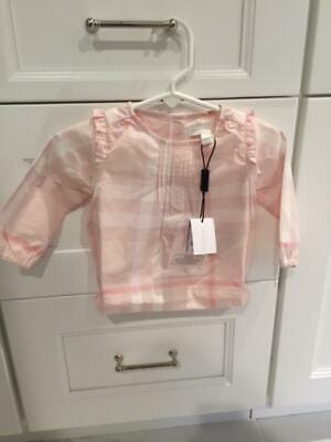 NWT Authentic Burberry Baby Girls Pink Check Long Sleeve Blouse 6 Months $130