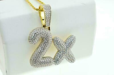 14K Yellow Gold Plated Hip Hop Iced Bling Micro Pave 2x Pendant with Rope Chain