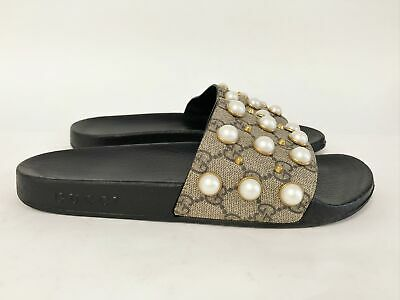 cc2450ef NEW GUCCI GG Women's Pearl Pursuit Slides Sandals Size 34/ 4 RARE ...