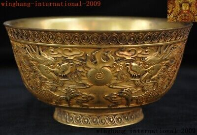 Old China dynasty purple Bronze 24k gold Gilt animal Dragon emperor Tea cup bowl