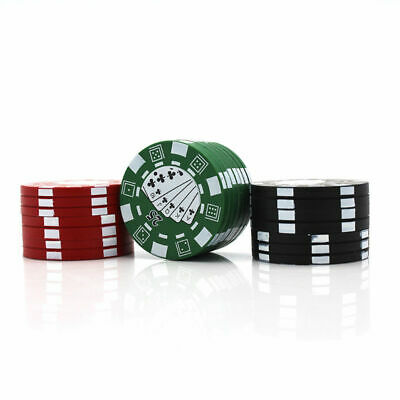 3 Layers Herb Spice Alloy Smoke Crusher 40mm Tobacco Grinder Casino Chip Design