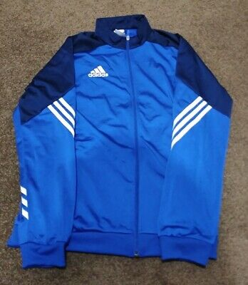 Mens Adidas Sz Medium Blue Tracksuit Track Training Jacket Top Full Zip Bnnt