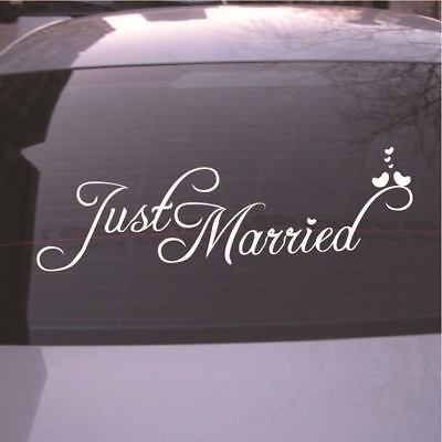 Just Married Wedding Car Cling Window Decal Sticker Banner Decoration Hot New