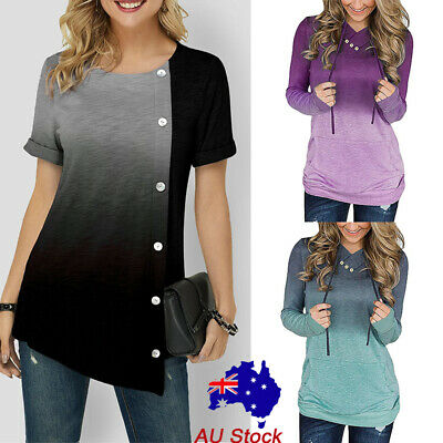 Women Gradient Buttons Baggy Shirt Ladies Short Sleeve Casual Blouse Tunic Tops