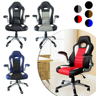 360 ° Office Chair Executive Racing Gaming Swivel PU Leather Sport Computer Desk