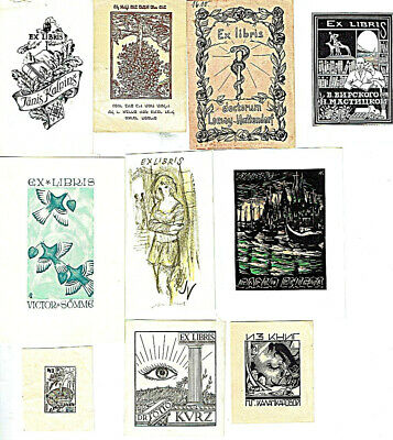 Collection of 10 antique and old Ex-libris, litho, etching, woodcut, signed.