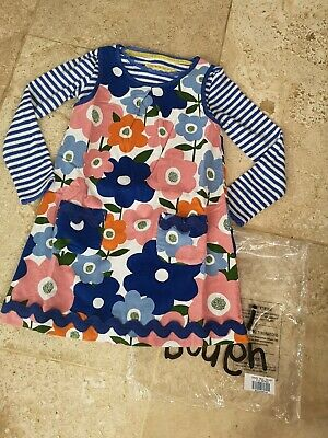 New In Bag Boden Flower Cordaroy Dress & Matching Pointelle Top Age 4-5