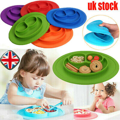 Cute Silicone Happy Baby Kids Suction Table Food Tray Placemat Plate Bowl Mat