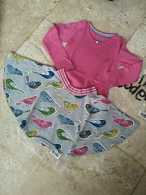 New In Bag Boden Twirly Bird Skirt & Pink Top Age 4-5
