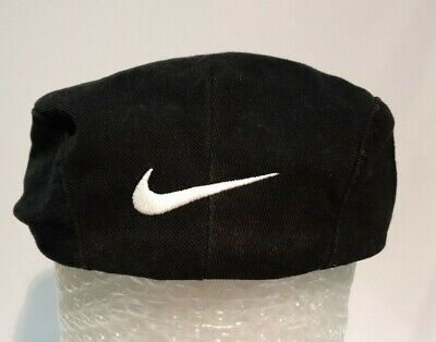 Vintage 90s NIKE Flat Cap Golf Driving Newsboy Black Hat Mens Large Made is USA