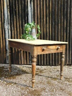 A Good Sized Antique Country Pine Kitchen Scrub Top Table