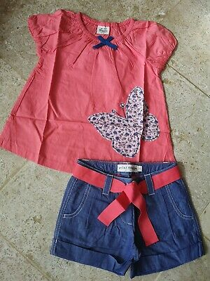 New Boden Butterfly Applique Blouse An Shorts Set Age 4-5