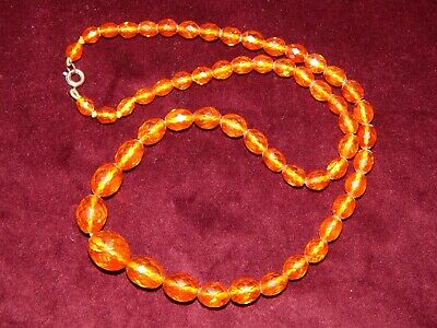 """GENUINE VINTAGE ART DECO FACETED HONEY BALTIC AMBER BEAD NECKLACE ~ 17g 18"""" LONG"""