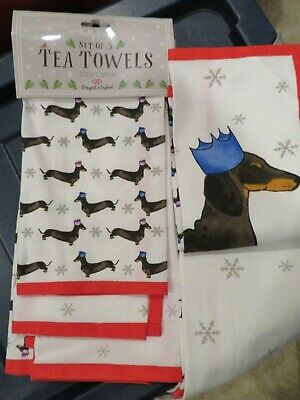 Dachshund Through The Snow Milly Green Set of 3 Tea Kitchen Towels Crown NEW
