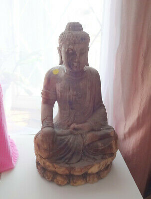 Antique Chinese Wood Carving Statue Figure Buddha Qing Dynasty Very Big
