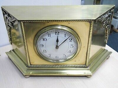 Antique Decorative Brass Cased Clock with French 8 Day Movement Running.