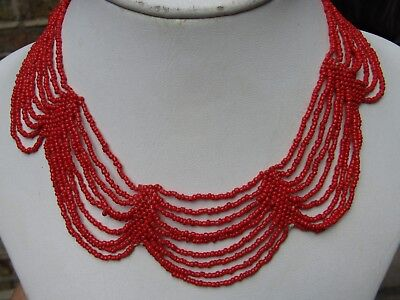 Antique or Vintage  Victorian style Red Coral Glass  Multi-Strand Necklace.