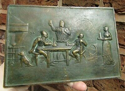Antique Collectable  Rare Bronze Tavern Pub Artwork Plaque or Panel Signed E.D.