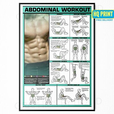 ABDOMINAL WORKOUT WALL CHART Fitness Training Poster Print | A4 A3 A2 A1 |