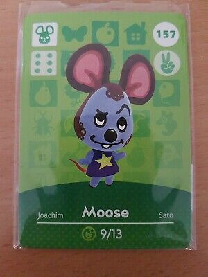 animal crossing new leaf welcome  amiibo card moose 157