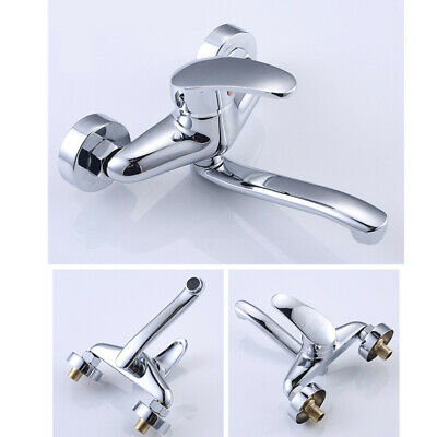 Faucet Chrome Wall Mounted Hot Cold Water Dual Spout Mixer Tap Bath Shower