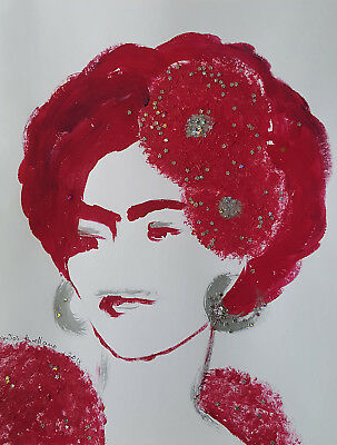 FRIDA KAHLO - 2 RED FLOWERS -  Abstract POP MEXICAN FOLK ART Style PAINTING -
