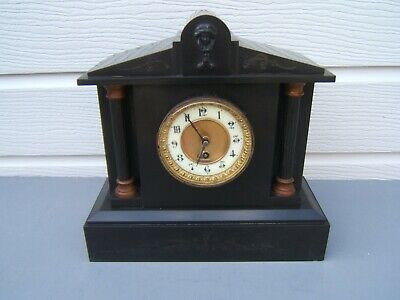 "Mantel clock slate 13"" x 13"" x 5.5"" working good time good face key and pen   S1"