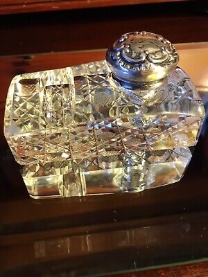 Antique 1800's CUT GLASS INKWELL with STERLING lid: Harvard pattern