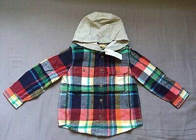 Toddler Boy 18-24 Month Gymboree Multicolored Plaid Hooded Flannel Button Shirt