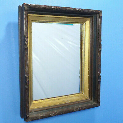 "13"" Antique American Hanging WALL MIRROR Wood Carved Frame Gilded c1880"