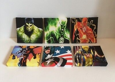 5th Job lot Set Of These 6 Marvel & DC Super Hero Canvas Pictures