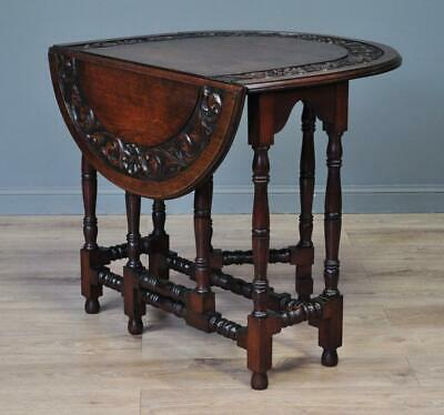 Attractive Small Antique Carved Oak Gate Leg Drop Leaf Occasional Table