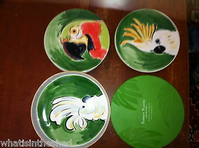"""Pottery Barn parrot Plates Set of 4  In Box ~New~ diameter 7"""""""