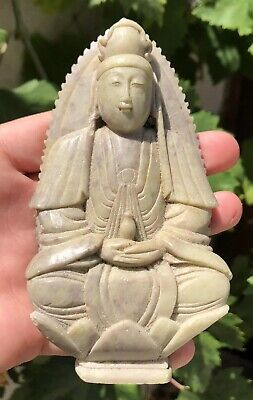 """Old Chinese Jade Hard Stone Carved BUDDHA Blessing Temple Worship Statue -5 1/8"""""""