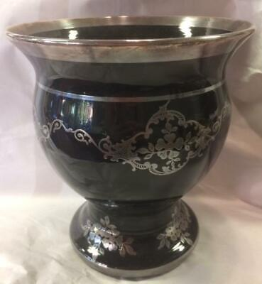 Sterling Silver Overlay on Black (Amethyst) Czech Glass Vase, Rockwell?