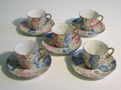 5 Ancient Cups with Dish Porcelain Japanese Painted Period First Xx Century