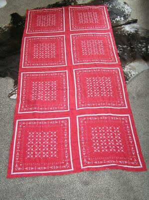Lot of 3 Matching Red Scarf 1940's Cotton Printed Linen Tablecloth Tablecloths