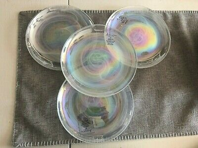 Artistic Accents Pearl White Opal Iridescent Glass Salad Luncheon Plates 4 New