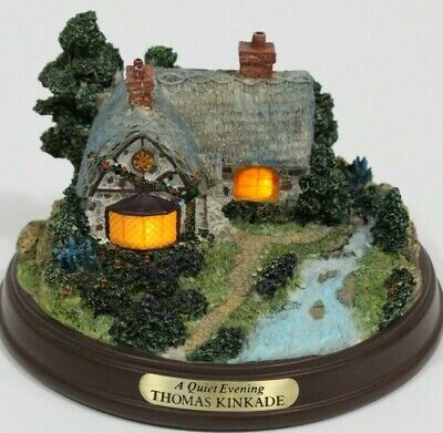 A QUIET EVENING Lighted Cottage Collection by THOMAS KINKADE, pretty & works