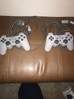 Lot- 2 Original OEM Sony Playstation 1 PS1 Controllers Grey SCPH-1200