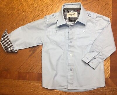 Sovereign Code boys button down baby blue shirt, size 24mth