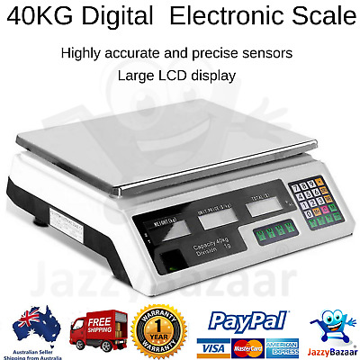 40kg Electronic Digital Weight Scales Kitchen Postal Commercial Tabletop Scale
