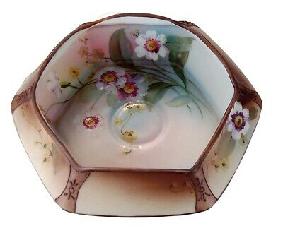 Rare Antique Moriage Nippon Folded Porcelain Bowl Hand Painted Flowers!