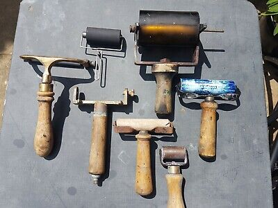 joblot hand print rollers handles brass vintage antique letterpress lino sold as